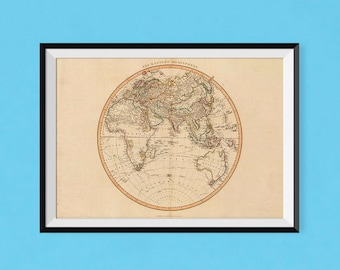 Eastern Hemisphere Atlas 1801 | World Map Poster | Fine Art Reproduction Print of Antique Map of the World, antiqued old atlas poster
