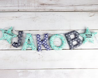 Your name in fabric letters + embroidered star