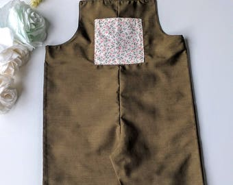 baby girl dungarees / baby girl rompers / baby girl salopette / baby girl overall / girl summer clothes / toddler overall / kaki dungadees /