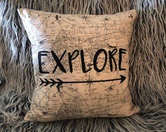 Explore Arrow Decorative Adventure Airplane Pillow Cabin Pillow Decorative Throw Pillow