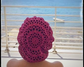 Hat Basque  Woman Cotton Crochet Spring & Summer -  Red Cherry
