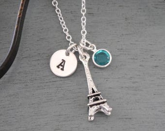 Eiffel Tower, Personalized Eiffel Tower Necklace, Silver Eiffel Tower Necklace, Letter Birthstone, France Necklace, Paris Necklace, Custom