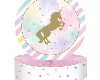 Pastel and Gold Unicorn Sparkle Table Centerpiece/ Unicorn Birthday Party Table Decor/ Pastel Unicorn Centerpiece