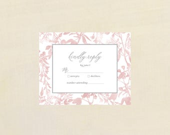 PINK AND WHITE rsvp Card, Wedding Invitation Kit, reply card, printable, printed, stationary, wedding stationary, invitation kit