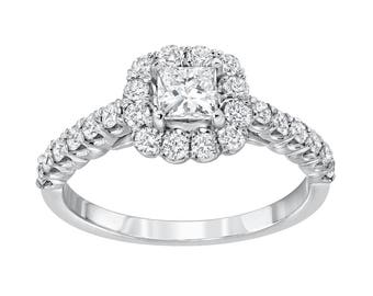Diamond Halo Engagement Ring, Princess 0.39ct Center, 1.02ctw diamonds