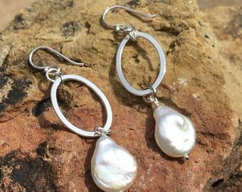 Dangle Pearl Earrings. Oval Sterling Earrings.  Coin Pearl Earrings. Silver Oval Earrings.  Freshwater Coin Pearl Earrings.