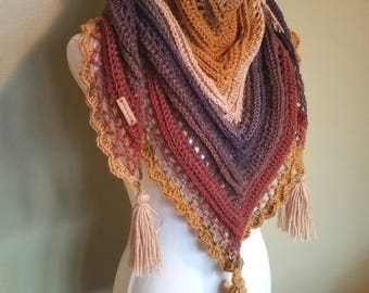 Custom Crochet Triangle Scarf - Centaur-Serpent