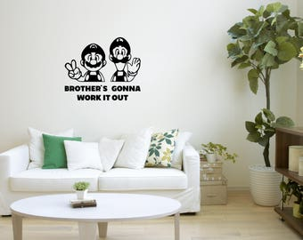 Brothers Decal, Mario Bros, Friendship Wall Art, Work It Out, Mario Wall Part 82