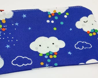 Rainbow Snow Cloud Print Novelty Zipper Pouch - makeup bag; pencil case; gift for him; cosmetic bag; carry all;gadget case; boys pencil case