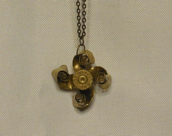 Recycled Steampunk Flower Bullet Necklace