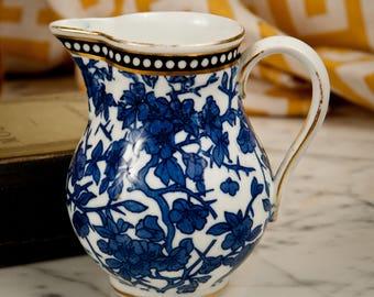 Antique Coalport Blue & White Milk Jug – Cherry Blossom – Ca. 1875 – Gold Black Blue White