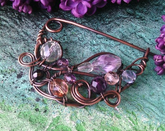 Copper safety pin Shawl pin  Wire wrapped Jewelry scarf pins Fashion jewelry Hammered Brooch Fibula knitting accessory cardigan closure