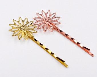 20pcs Filigree Bobby Pin Setting-Hair Clip Blanks-Flower Hair Pins Blank-Filigree Setting Base For Resin Cabochons-Filigree Setting-26mm