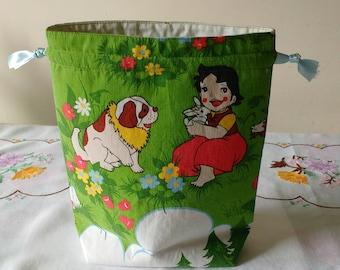 Vintage cartoon drawstring bag