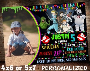Ghostbusters Invitation, Ghostbusters Birthday Invite, Ghostbusters Birthday Invitation, Ghostbusters Party Invite, Slimer Party