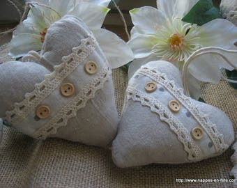 fabric and lace hanging heart
