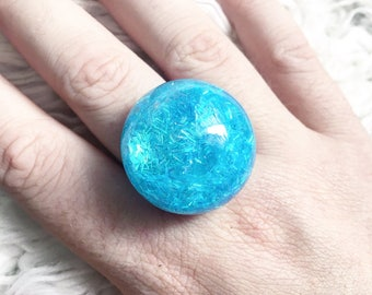 Sparkly blue bubble ring
