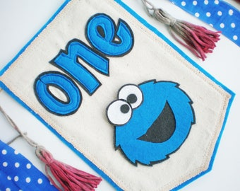 Cookie Monster 1st birthday Sesame street first birthday High chair banner Cookie Monster magnet Party garland One decoration banner