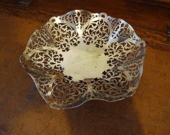 Silver plated lace pattern bon bon dish