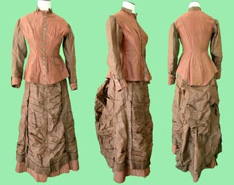 Antique 1870's Chocolate Brown Silk Bustle Gown