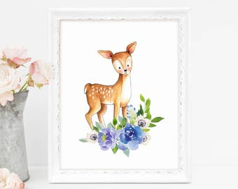 Baby Deer Art Print, Nursery Deer Decor, Baby Deer Wall Art, Nursery Floral Decor, Above Crib Decor, Blue Flowers Print, Printable Art, Deer