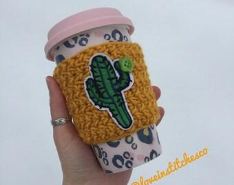 Cactus travel cozy, mug sweater, travel mug cozy, crochet cozy, coffee sleeve