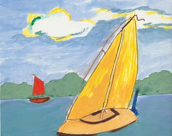 Water Color on Paper Boat Scene