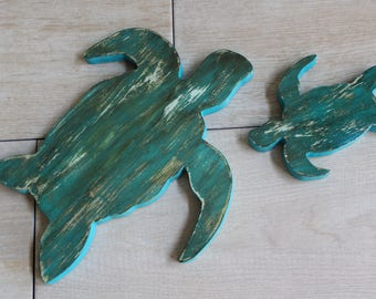 "3/4"" solid Pine Sea Turtles, turtle wall decor, tropical decor, Hawaiian sea turtles, ocean and nautical look"