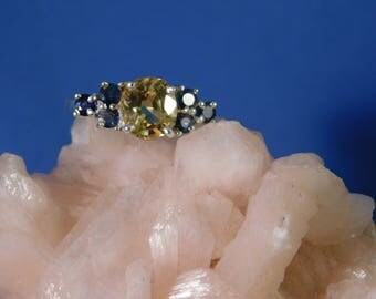 2.45 Ct. Oval Yellow Sapphire & Blue Sapphire Cluster Ring Sterling Silver