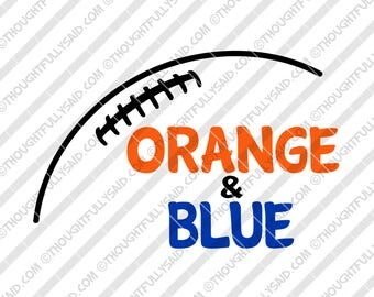 Orange and Blue Football design, SVG, DXF, eps, png cutting files, Silhouette, Cameo, Cricut, high school, college, club teams