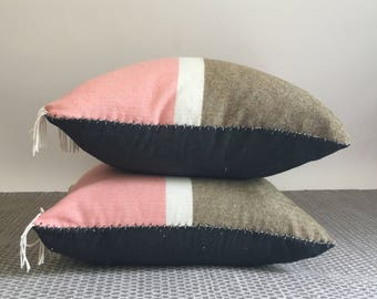 """Two 25""""x25"""" Lambswool and Organic Hemp Canvas Pillowcases with Wool and Natural Latex Pillow"""