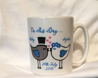 Personalised Wedding Mugs, Newlywed Mugs,Pair of Lovebirds Add your Name and Date