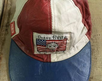 90s Danny First USA Color Block Leather Strapback Hat
