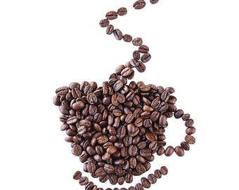 Coffee Bean Cup Greetings Card, gift card, birthday card, coffee lover - food photo