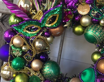 Mardi Gras wreath made with new and vintage ornaments.