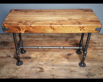 Thick Rustic Wood Bench, Butcher Block Top, Steel Pipes, Industrial Home Decor, Steampunk Furniture