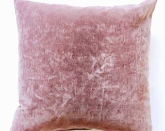 Vintage Pink Velvet Throw Pillow 18x 18