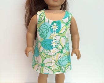 18 Inch Doll Clothes Dress Using Lilly Pulitzer Fabric Shift Dress In Blue White and Green  Fits Like American Girl Doll Clothes