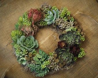 """Faux Succulent 12"""" Wreath"""