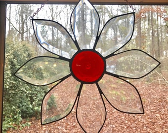 Stained glass beveled flower Suncatcher