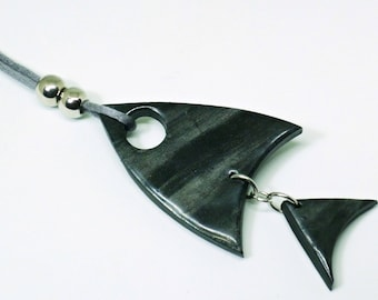 Jet black fish necklace.