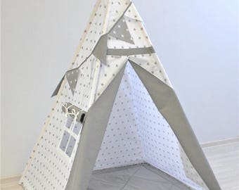 Sale Teepee Set,  Playtent, Teepee tent, Tipi zelt, wigwam with mat, Grey stars on white with grey