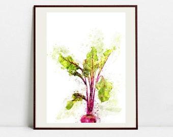 Beetroot Watercolor Art Print, Beetroot Illustration, Kitchen Wall art, Kitchen Wall Decor, Vegetable Print