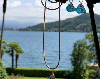 Italian very rare deep turquoise blue beach glass pendant and earrings #89