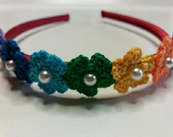Headbands with flowers and Rainbow crochet Pearl Center