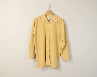 90s Minimal Blouse, Simple Matte Silk Shirt, Vintage 90s Blouse, 90s Minimal Oxford, Pocket Front Blouse, Oversized Silk Button Up Shirt