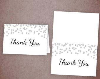 Thank You Card Printable, Silver Confetti, Gray Polka Dots, Thank You Cards, Bridal Shower, Baby Shower Thank You, Wedding Shower, A003