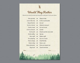Woodsy Themed Would They Rather, Fall Bridal Shower Games Printable, Wedding Shower Games, Who knows the Bride Best, Trees Forest, A010
