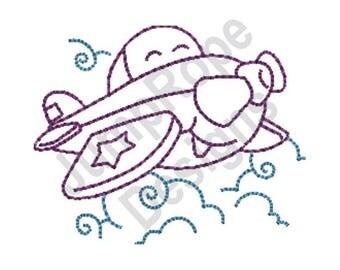 Cartoon Airplane - Machine Embroidery Design