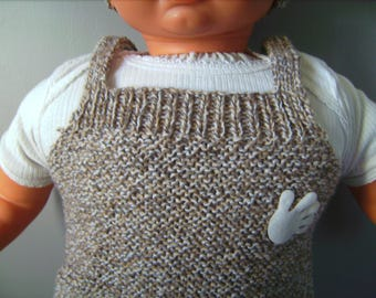 jumpsuit with beige tones hand knitted Cap baby sleeping bag